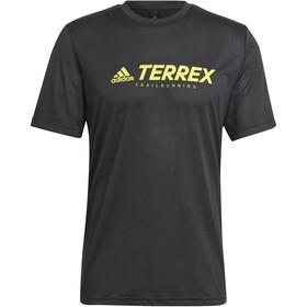 adidas TERREX Primeblue Trail Functional Logo Tee Men, black/acid yellow